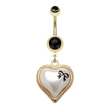 Golden Puffed Pearl Bow-Tie Heart Belly Button Ring