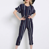 Multicolor Stripe Belted Waist Short Sleeve Cropped Jumpsuit