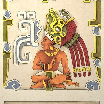Ancient Mayan Aztec Warrior Priest Art Print