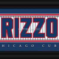 "Chicago Cubs Anthony Rizzo Print - Signature 8""x24"""