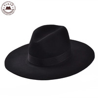 2015 Spring and Autumn flat brimmed fedora hat fashion large brimmed fedora hats for women wide brim floppy fedoras hat