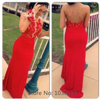 Long mermaid prom dresses 2015 vestidos de fiesta Sexy Backless Appliques Zipper Halter Red Customized Handmade Party Gowns