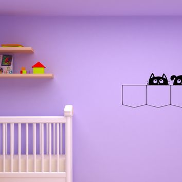 Wall Decal Cats and Dogs Pets Pocket Children's Room Vinyl Sticker (ed1165)