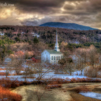 Vermont Winter, White church photograph, Steeple in the Winter, Vermont Prints, fall, Stowe Vermont, white church, scenic art, Home Decor