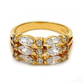 Gold Layered Multi Stone Ring, Baguette Design, with Cubic Zirconia, Golden Tone