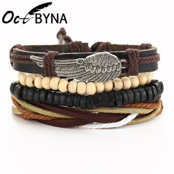 Octbyna 1 Set Fashion Vintage Wood Bead Handmade Punk Feather Charm Female Femme Homme Men Leather Bracelet for Women Jewelry