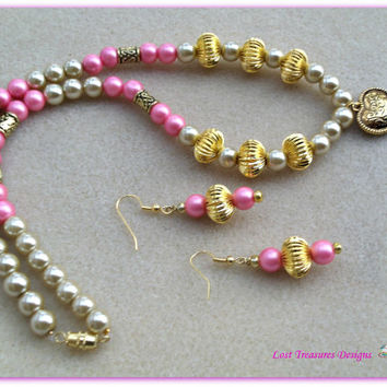 Heart of Gold-Handmade Jewelry Set-Ladies Jewelry-Ladies Necklace & Earrings-Trending-Fashion-Handcrafted Beadwork-Valentine's-Gifts for He