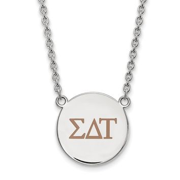 Sterling Silver Sigma Delta Tau Large Enamel Necklace
