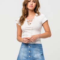 FULL TILT Lace Up Ribbed Womens Tee | Essentials