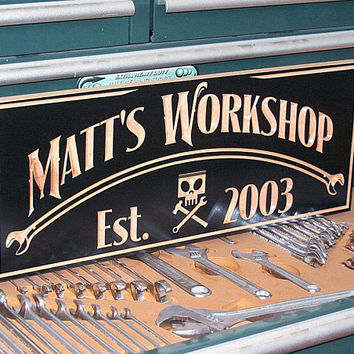 Motorcycle Sign, Personalized Garage Sign, Man Cave Sign, Carved Wood Sign, Guy Gift, Tool Rules Signs, Benchmark Signs, Maple CH