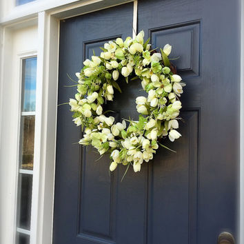 White Tulip Wreath Spring Tulip Door Wreaths Mother's Day Wreath Spring Decor Green
