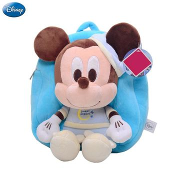 Genuine Disney Backpack Mickey Mouse Minnie 30cm Plush Cotton Stuffed Doll Kawaii Kindergarten bag Christmas Gifts Toy For Kids