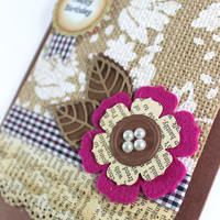 Happy Birthday - Handmade Card - Burlap Fabric - Felt flower