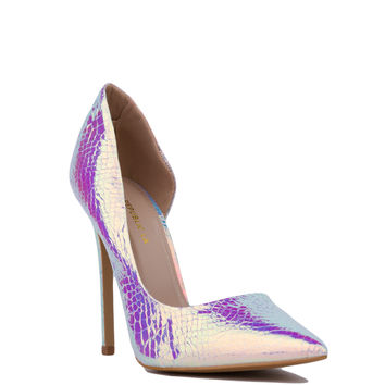 Pointed Toe Hologram Dorsay Pumps - Silver