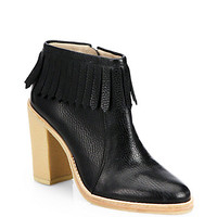 Monet Leather Fringe Ankle Boots