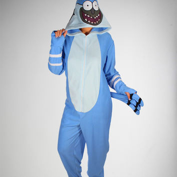 Regular Show Mordecai Hooded Footed Adult Pajamas