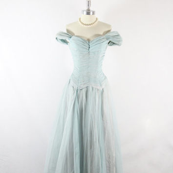 Early 1950s Long Dress - Blue Chiffon Flowing Full Length Gown - Old Hollywood Glamour