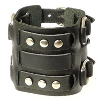 Neptune Giftware Wide Triple Strap Leather Cuff Wrap Gothic Wristband Bracelet With Buckle Fastening - Available In Black or Brown - YOU CHOOSE | AihaZone Store
