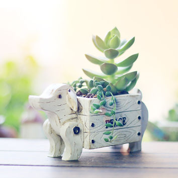 HEYFAIR Cute Dog Resin Cactus Succulent Planter Pot Container Gardens