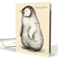 Vintage Penguin Illustration for Thinking of You card