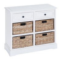 Basket Cabinet with Fine Detailing in Exclusive White Color