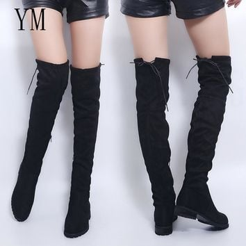 Thigh High Over the Knee Boots Flat Stretch Sexy Fashion Riding Boots