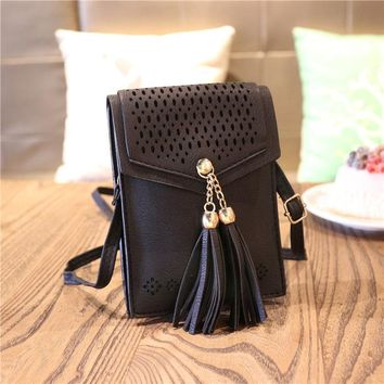 women mini crossbody bag tassel messenger bag cell phone purse wallet fit for iphone 6s 7 plus x 8 8 plus  number 1