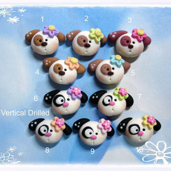 SALE Cute Puppy Dog Polymer Clay Charm Bead by RainbowDayHappy