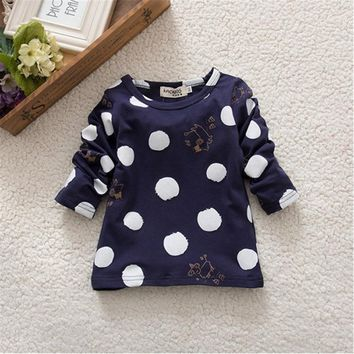 Child Kids Baby Girls Boys T-shirts Unisex Polka Dots Long Sleeve Tops T-Shirt Cotton Spring Autumn Basic Tees
