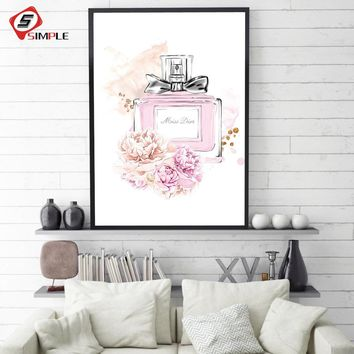 Modern Home Decor Pink Perfume Bottle Canvas Painting Flower Wall Picture For Living Room Fashion A4 Posters and Print Wall Art