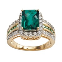 10k Gold Over Silver & Sterling Silver Lab-Created Emerald & Lab-Created White Sapphire Halo Ring