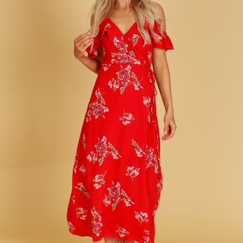 Cold Shoulder Ruffle Wrap Maxi Dress Red