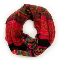 D&Y Mixed Pink Tribal Print Infinity Scarf
