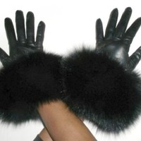 Cashmere Lined Black Lambskin Leather Gloves w/Black Fox Trim 8