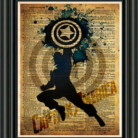 Avengers - Captain America -  Vintage Silhouette print  - Retro Super Hero Art - Dictionary print art