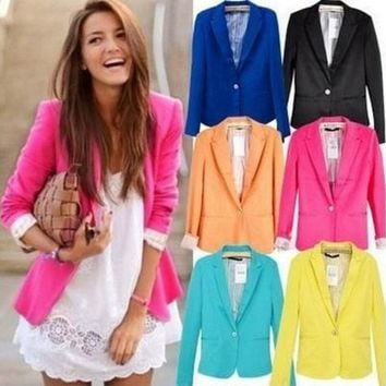 DCCKF4S blazer women suit blazer foldable brand jacket made of cotton & spandex with lining Vogue refresh blazers Free shipping