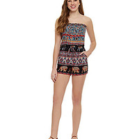 Angie Printed Romper - Black/Multi