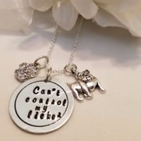 "Pet Lovers Rescue Jewelry  Message """"Can't control my licker"" Necklace"