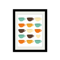 Mid century Coffee Cup Love Poster. Modern Trendy Hipster. Warm and Calming. Coffee Cup. 8.5x11 Print