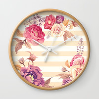 Pastel Flowers Wall Clock by Printapix