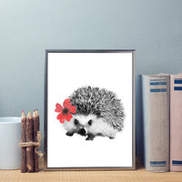 Free to Dream hedgehog art, hedgehog print, animals printable art, hedgehog art, animals nursery art, wall art, printable art, home decor