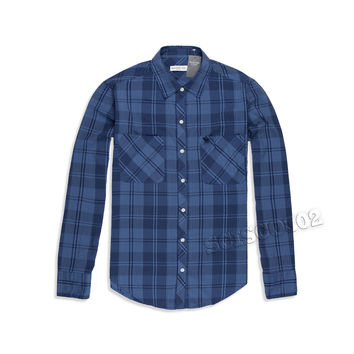 Abercrombie & Fitch Shirt Button Down Blue Plaid