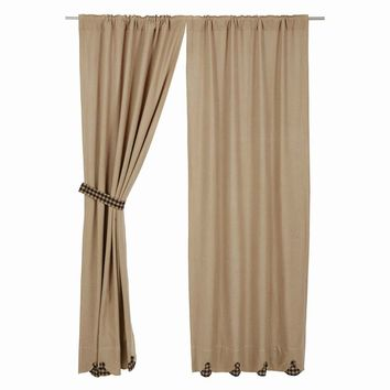 Burlap with Black Check Panel Curtains