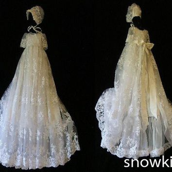 Elegant White/Ivory Lace With Bonnet Baby Dress Baptism Gowns for Boys and Girls christening gowns