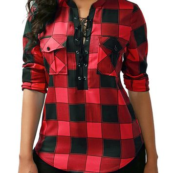 KISSMODA Women's Sexy Long Sleeves Fitted Plaid Shirt Deep V Neck Tie Front Polyester Tops Blouses With Pockets