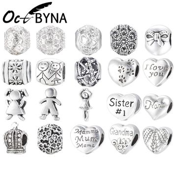 Octbyna Free 1pc Antique Silver Love Heart Family Sister Mum Big Hole Bead Charm Fits European Pandora Charm Bracelets