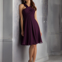 Short Luxe Chiffon Morilee Bridesmaid Dress with Draped and Crossed Neckline | Style 204340 | Morilee