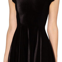 Black Velvet Cocktail Mini Dress Design 3060