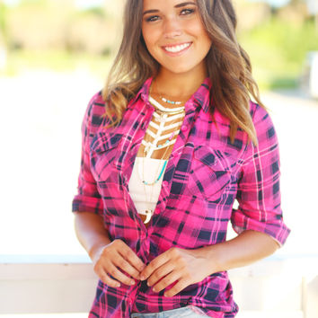 Pink and Navy Plaid Top