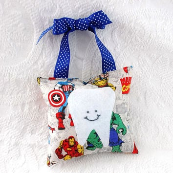 Boys Superhero Tooth Fairy Pillow featuring by BoutiqueVintage72